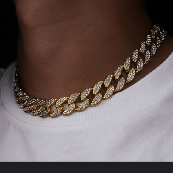 Mens blinged out iced out necklace